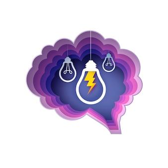 Lampy mózgowe i błyskawice. żarówka w stylu papierowym. origami żarówka elektryczna dla kreatywności, startupów, burzy mózgów, biznesu. okrągła fioletowa ramka warstwowa. .