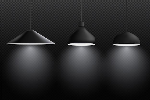 Lampy sufitowe. wnętrze z czarnym zestawem ilustracji lampy