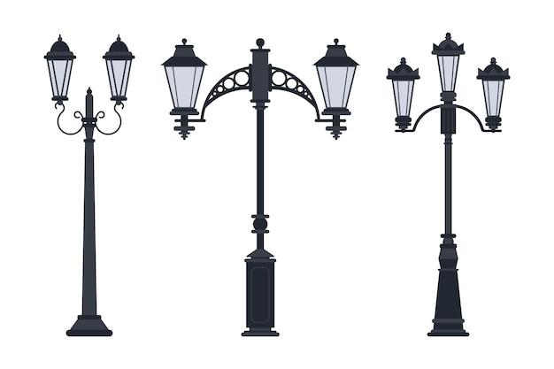 Lampy uliczne wektor zestaw kreskówka na białym tle na białym tle.