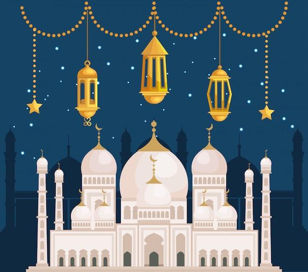 Lampy z wiszącymi gwiazdami i zamek architektury