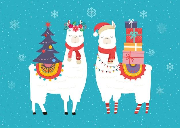 Lamy zimowe, słodkie dla przedszkola, plakat, wesołych świąt, urodzinowa kartka z życzeniami