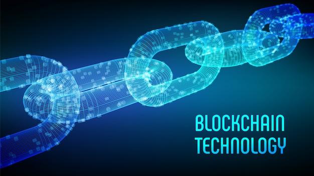 Łańcuch szkieletowy 3d z cyfrowymi blokami. koncepcja blockchain.