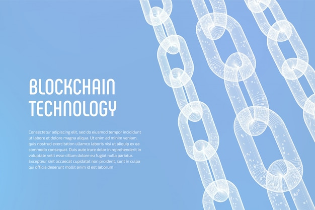 Łańcuch szkieletowy 3d z kodem cyfrowym. blockchain.