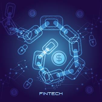 Łańcuch z pieniędzy ikona technologii finansowej