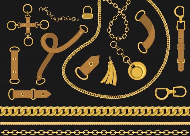 Łańcuchy i pasy elementów projektu wektorowego. ilustracja wektorowa w stylu barokowym