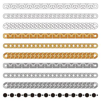 Łańcuchy prosty zestaw: złoty, srebrny, metalowy i kontur. element projektu moda na białym tle