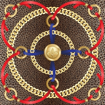 Łańcuchy wzór na tle lamparta moda złoto i zwierzęcy nadruk z biżuterią i wstążkami