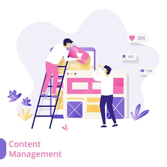 Landing page content management wektor ilustracja koncepcja, mężczyzn współpracujących w celu tworzenia treści