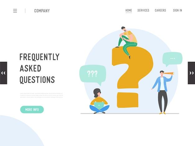 Landing page koncepcji często zadawanych pytań. metafora odpowiedzi na pytanie. tło. płaski projekt graficzny osób postaci z kreskówek. szablon baneru, ulotki, plakatu, strony internetowej