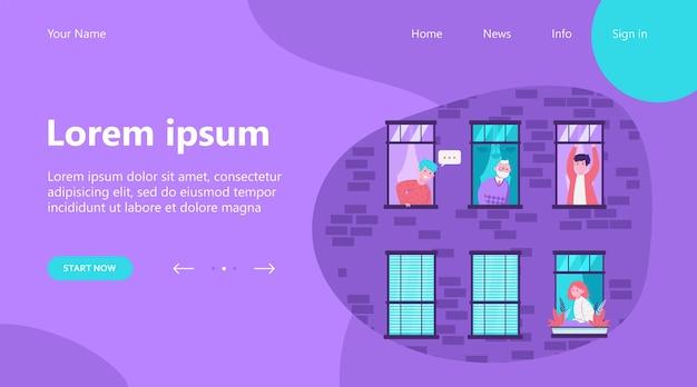 Landing page, ludzie mieszkający w jednym budynku. mieszkanie, okno, sąsiad płaski ilustracji wektorowych. koncepcja stylu życia i sąsiedztwa