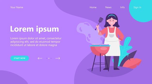 Landing page, szczęśliwa kobieta grillowania mięsa z grilla. kobieta kucharz w fartuch trzymając łopatkę, gotowanie w ogrodzie ilustracji wektorowych płaski. bbq party, lato, koncepcja żywności