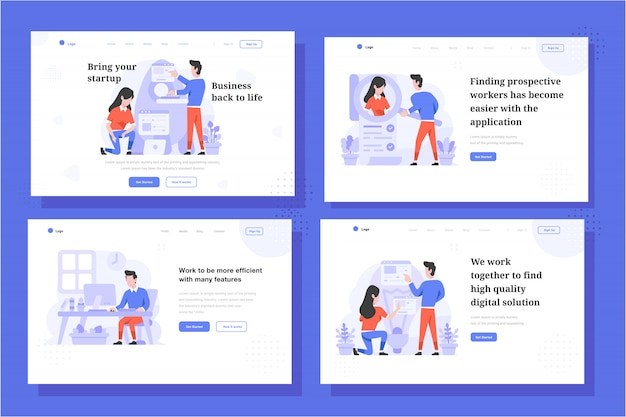 Landing page vector illustration płaska konstrukcja stylu, mężczyzna i kobieta gotowi do wystrzelenia rakiety, uruchomienie, pracownik wyszukiwania, praca w biurze, dyskusja o ideach
