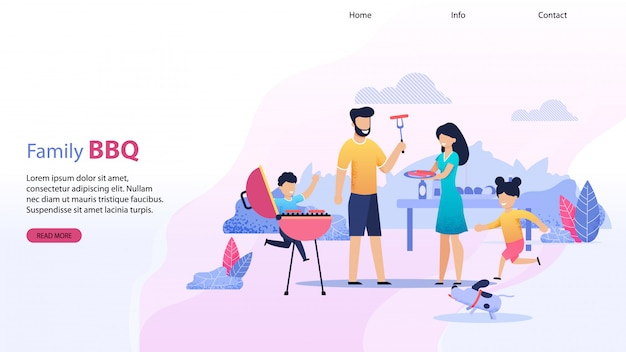 Landing page with family bbq text.