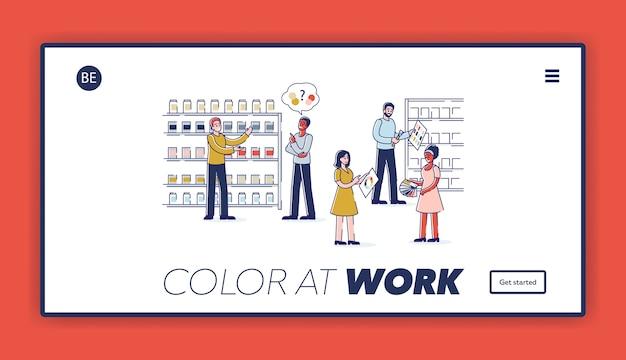 Landing page z osobami wybierającymi kolory farb do remontu domu w sklepie z narzędziami.