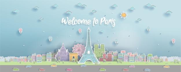 Landmark z paryża, francja w stylu cięcia papieru.