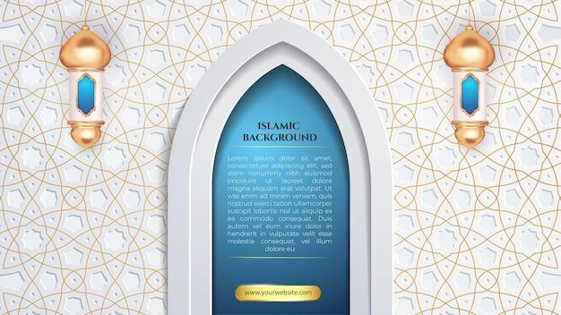Lanscape islamski patern z białego złota dla szablonu banera eid i hadżdż
