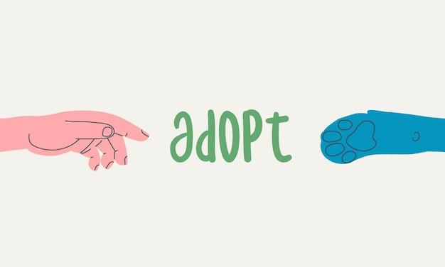 Łapa psa ludzkiej ręki i tekst przyjmują baner dla schroniska dla zwierząt lub kliniki weterynaryjnej