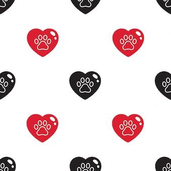 Łapa psa wzór wzór ślad serca