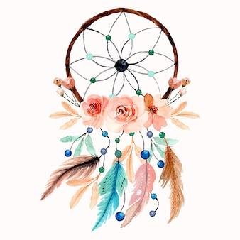 Łapacz snów akwarela z kwiatkiem i piórkiem