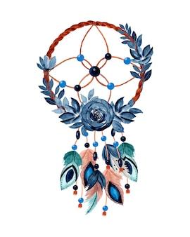 Łapacz snów akwarela z niebieskim kwiatem