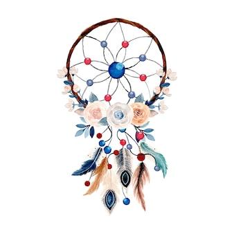 Łapacz snów akwarela z piórkiem i kwiatkiem