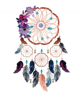 Łapacz snów akwarela z purpurowy kwiat akwarela