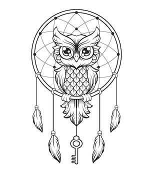 Łapacz snów czarno-biała sowa. ilustracja linii