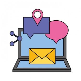 Laptop e-mail mowy bańka podzielić się mediów społecznych