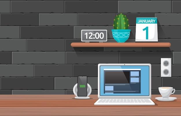 Laptop filiżanka kawy na stole warsztatowym biurowym ilustracja