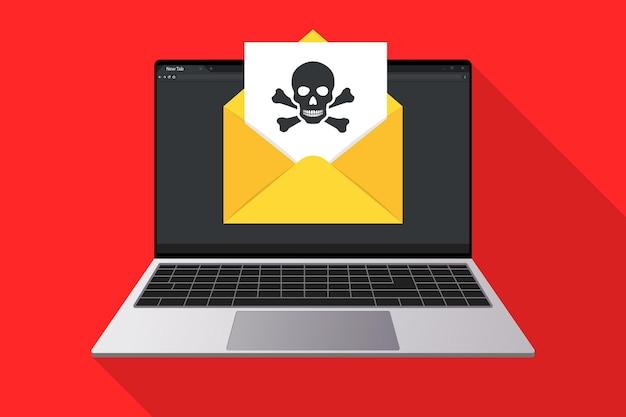 Laptop i koperta z ikoną dokumentu i czaszki