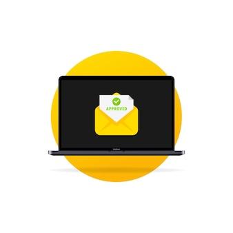 Laptop i koperta z zatwierdzonymi listami. otwarta koperta i dokument z zielonym haczykiem. zaakceptowany e-mail w kopercie. ilustracja kreskówka płaski wektor dla stron internetowych i projektowanie banerów.
