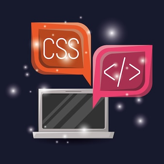 Laptop i okno dialogowe z językiem programowania sieciowego