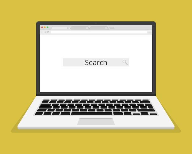Laptop i otwórz pustą przeglądarkę