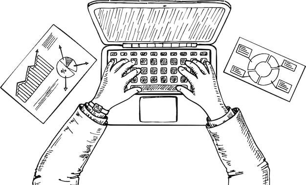 Laptop i ręce na klawiaturze przy użyciu komputera na białym tle. widok z góry