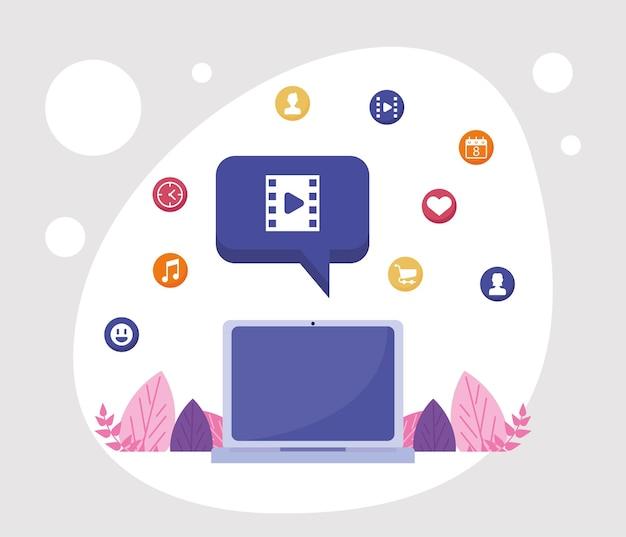 Laptop i sieć społecznościowa