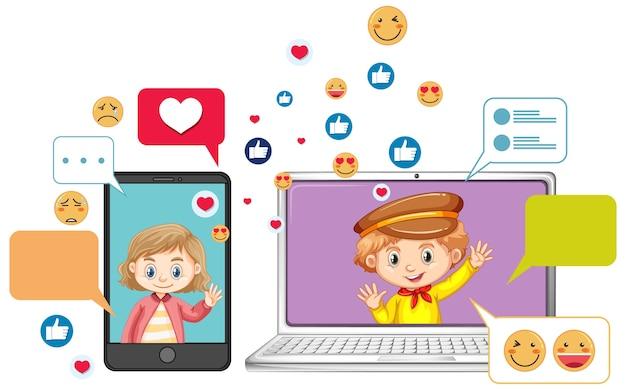 Laptop i smartfon z emoji ikona stylu cartoon na białym tle