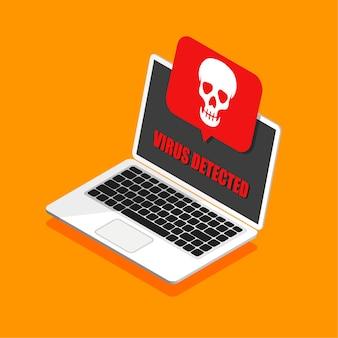 Laptop i wirus w nim. hakowanie poczty lub komputera w modnym stylu izometrycznym. czaszka na wyświetlaczu. otrzymanie pirackiego lub zainfekowanego listu. odosobniony.