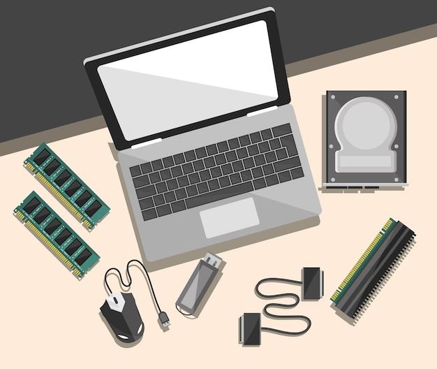 Laptop komputerowy i mikroczipy