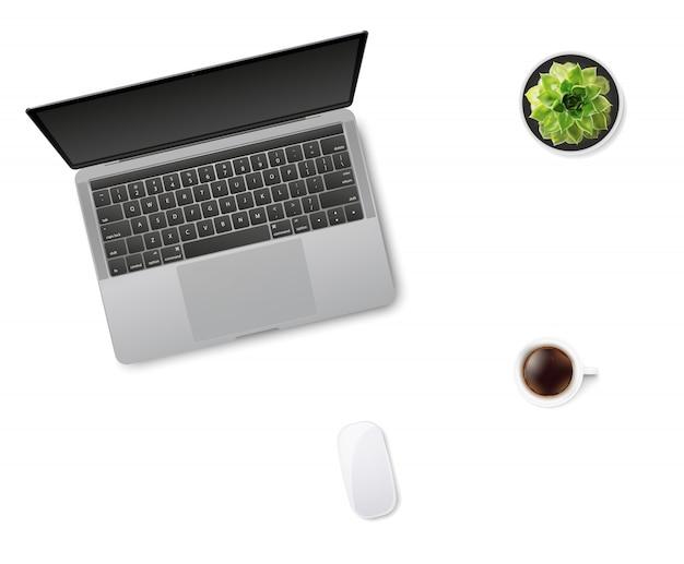 Laptop, mysz, filiżanka kawy i soczysty kwiat w doniczce.