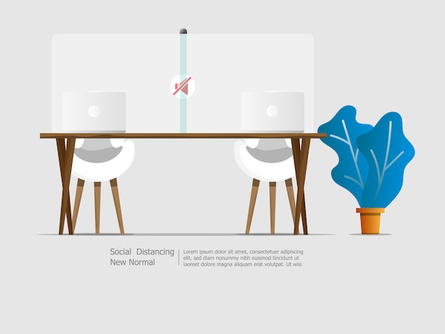 Laptop na biurku z przegrodą podziału społecznego