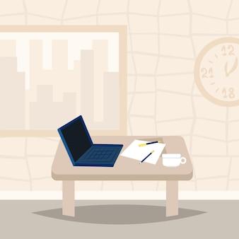 Laptop na biurowym biurka miejsca pracy projekta pojęcia wewnętrznym szablonie dla praca projektowa i animaci mieszkania ilustraci