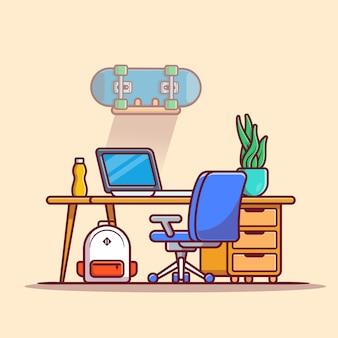 Laptop obszaru roboczego z deskorolka, roślin i torba kreskówka ikona ilustracja. koncepcja ikona technologii w miejscu pracy na białym tle premium. płaski styl kreskówki