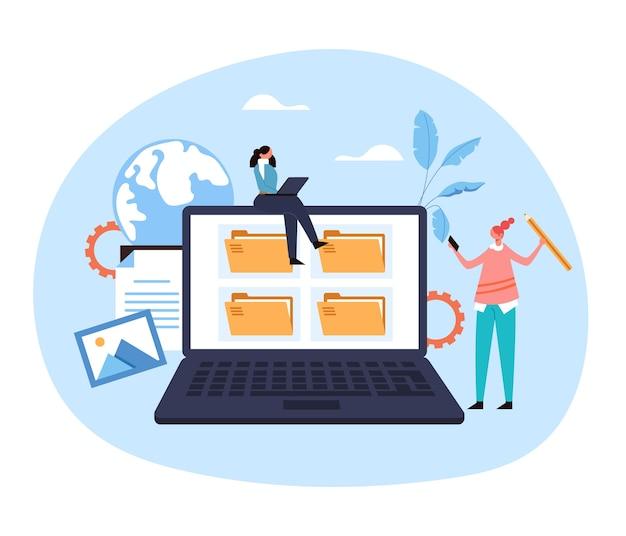 Laptop pc plik organizacji usługi sieci web archiwum strony internetowej ilustracja koncepcja dokumentu