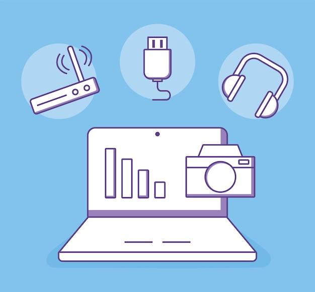 Laptop różne urządzenia