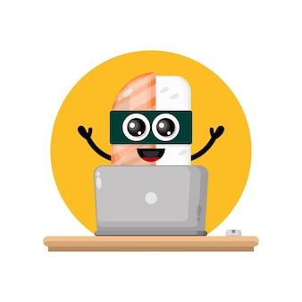 Laptop sushi urocza maskotka postaci