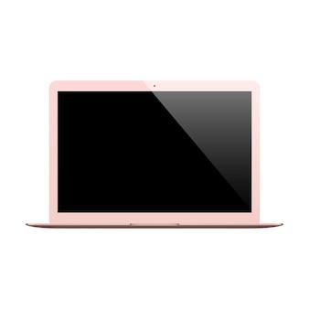 Laptop w kolorze różowego złota z pustym ekranem na białym tle