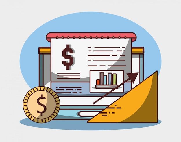 Laptop wykres wykres monety pieniądze biznes strzałka wzrostu finansowego