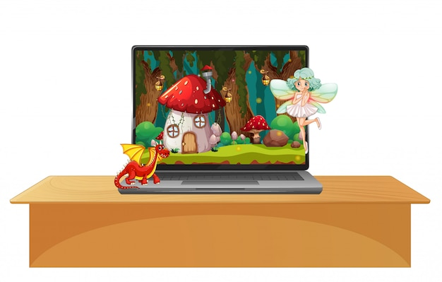 Laptop z bajkową sceną na tle pulpitu