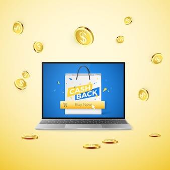 Laptop z banerem cashback na ekranie i przyciskiem kup teraz oraz spadającymi złotymi monetami