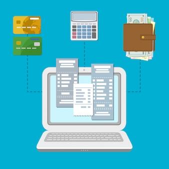 Laptop z czekami na ekranie, przelew bankowy, karty kredytowe, torebka z pieniędzmi i kalkulator ilustracji